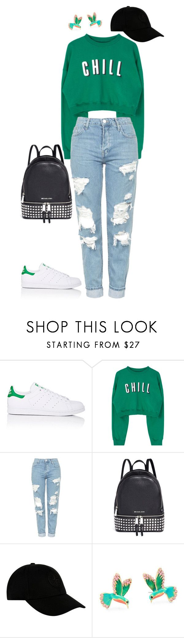 """""""Casual Outfit"""" by sarahlong3019 ❤ liked on Polyvore featuring adidas, Topshop, Michael Kors, STONE ISLAND and Kate Spade"""