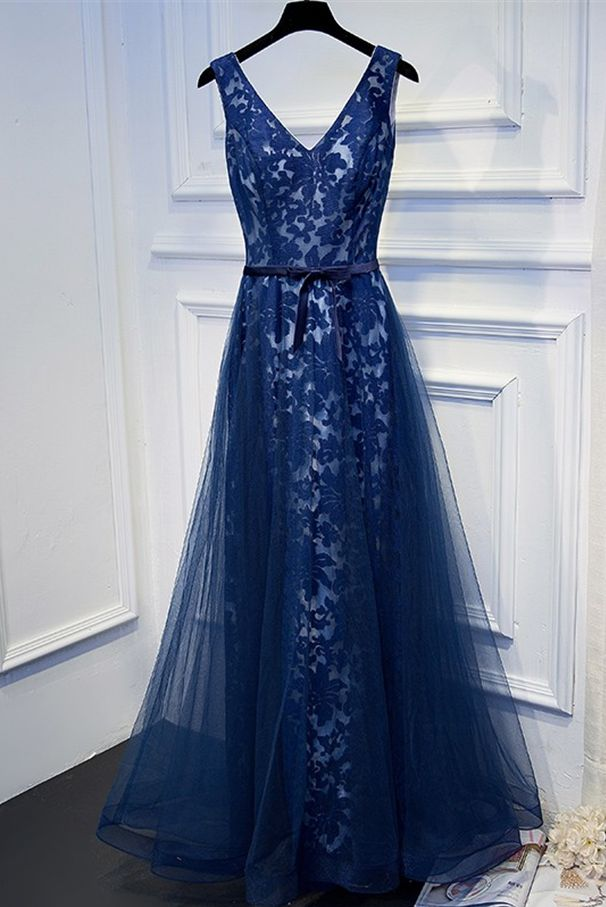 Dark blue tulle lace prom dress, formal dress, long prom dress with belt