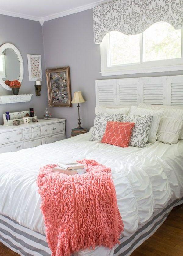 Einrichtungsideen schlafzimmer bett holz kommode wandfarbe grau jpg