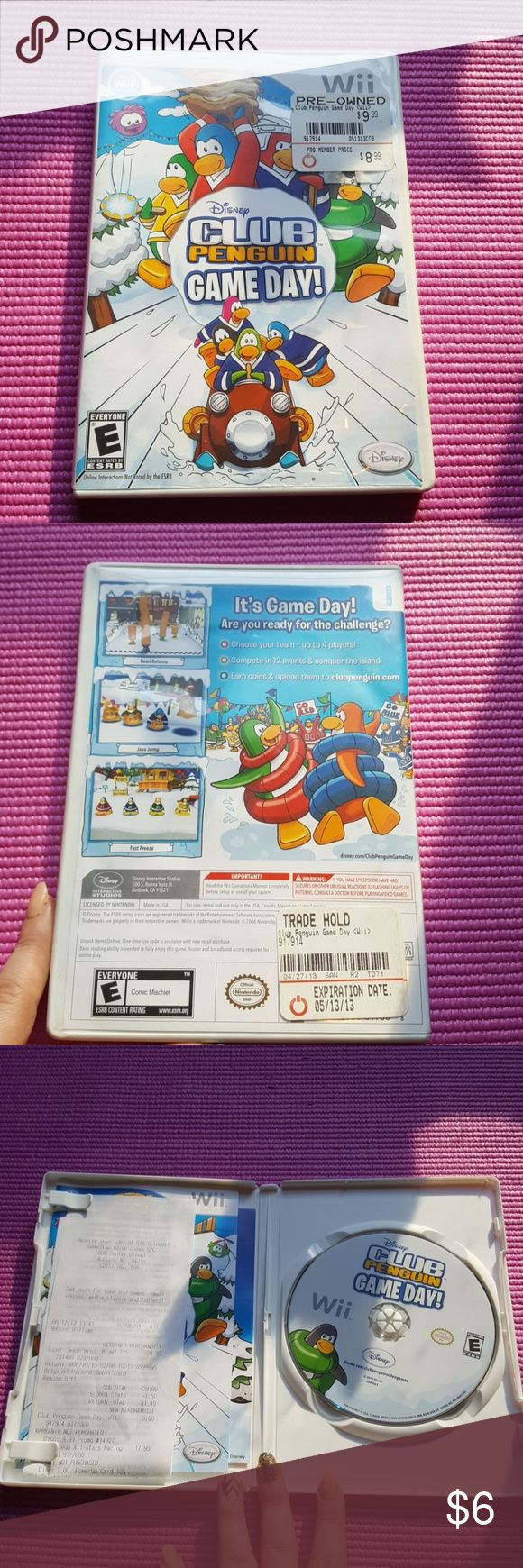 Wii Disney Club Penguin Game Day game Wii Disney Club Penguin game day game. Compatible with Nintendo WiFi connection. Rated E for everyone. Purchase as pre owned works perfectly. Disney Other