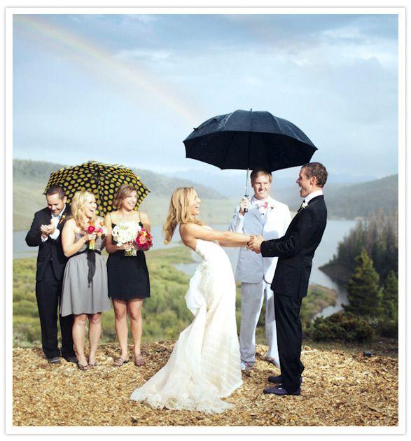 Umbrella Wedding Ceremony For A Rainy Sunny Rainbow Y Day Via Gia Ci Photography