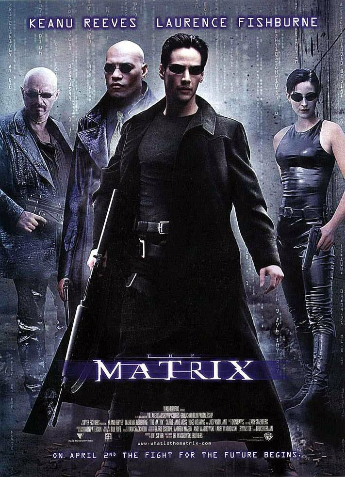 "Pelicula ""THE MATRIX"" con Keanu Reeves, Laurence Fishburne y Carrie Anne Moss."