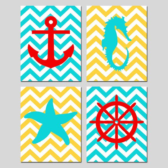 Beach House Decor for the spare bathroom!! Not the same colors but I like the general idea