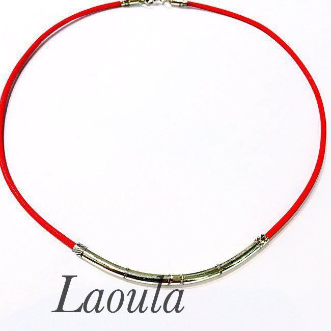 Collier en argent homme et cuir rouge. Bijoux ethniques Touareg 251372