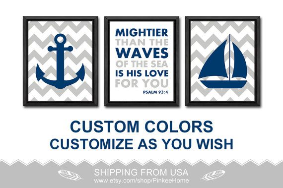 nautical bible verse nursery nautical boy nursery art baptism boys gift kids playroom decor psalm 93:4 boy decor bible quotes kids room art by PinkeeHome