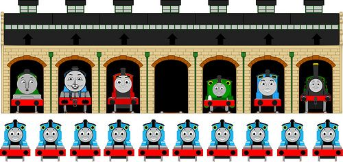 Pin Thomas in Tidmouth Sheds... A Printable Pin-the-Tail-on-the-Donkey-Type Party Game that I designed for the Little Man's Train Birthday. #ThomasAndFriends