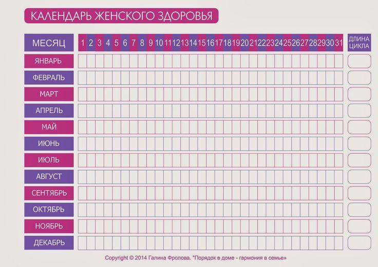 """Порядок в доме - гармония в семье: Контрольный журнал. Раздел """"Здоровье"""". Календарь женского здоровья."""