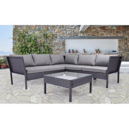 Baner Garden 4-Piece Outdoor Furniture Complete Set, Black
