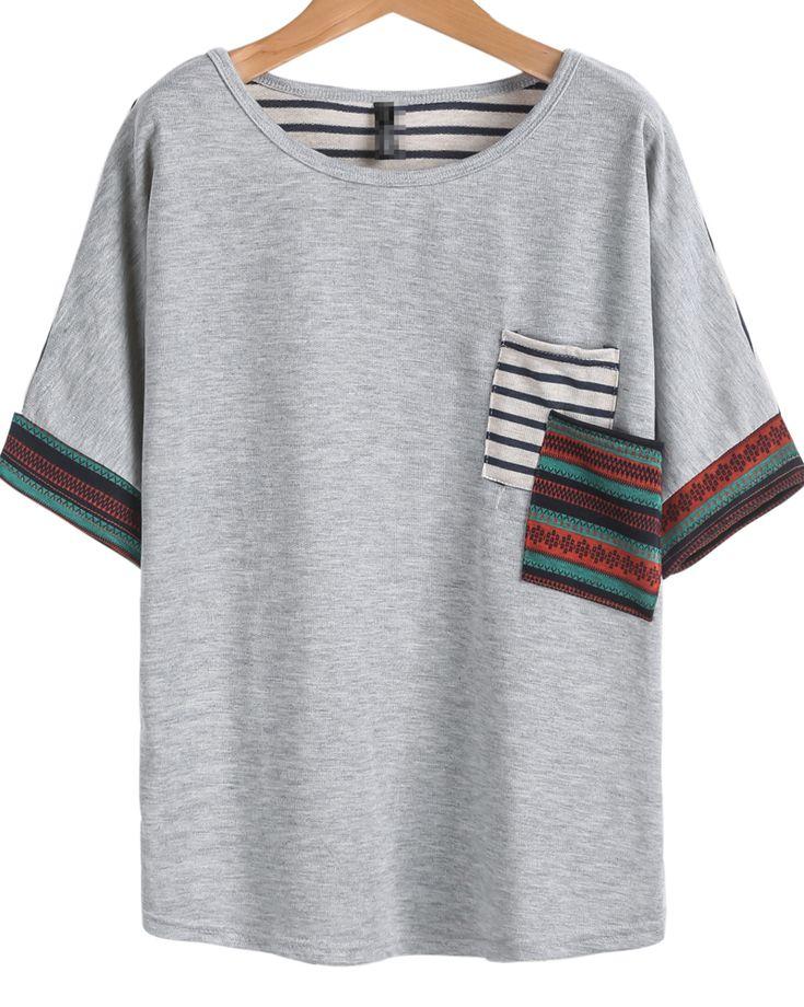 camiseta rayas bolsillo-gris