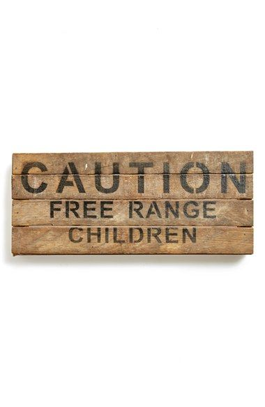 Second Nature By Hand 'Caution: Free Range Children' Repurposed Wood Wall Plaque available at #Nordstrom