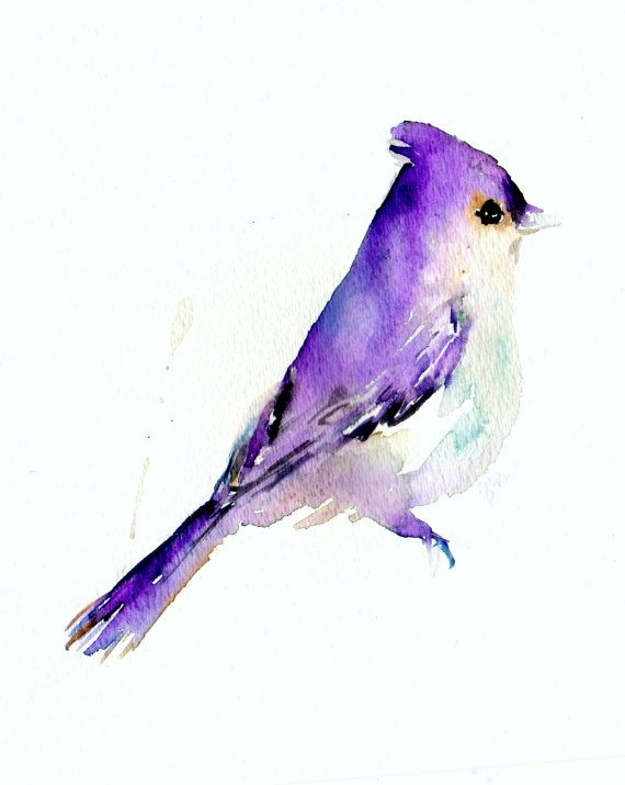 """Print of Original Watercolor Painting, Titled: """"Lavender the Bird"""" by Jessica Buhman 8 x 10 Purple Black Blue White Grey on Etsy, $40.00"""