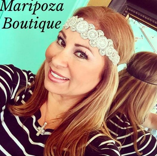 Sirley is our Pink Pewter Princess! She always looks fabulous :) Shop our Pink Pewter headbands today! www.maripozaboutique.com #sparkle #shine #pinkpewter #maripozaboutique