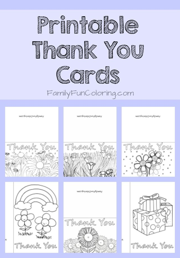 Printable thank you cards to color familyfuncoloring printables coloringpages kids