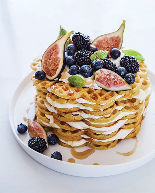 Cardamom Waffle Cake with Figs, Fall Berries,