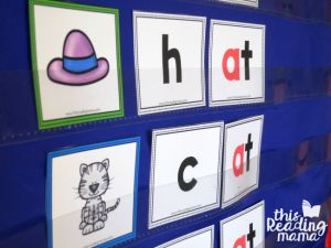 pocket chart at word family pictures and words