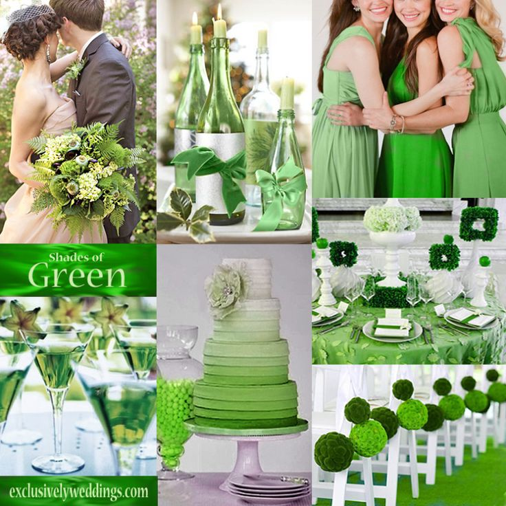 Emerald Green Wedding Color - site also has ideas with other shades of green