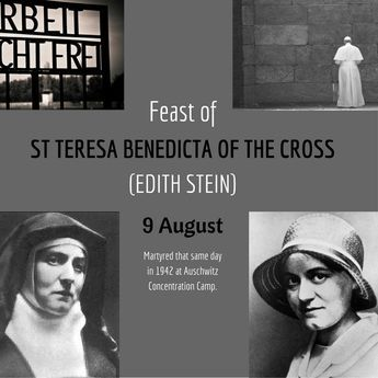 """Today, we bow to the memory of Edith Stein, proclaiming the indomitable witness she bore during her life and especially by her death."" - St John Paul II's Homily on the Canonisation of St Edith Stein"