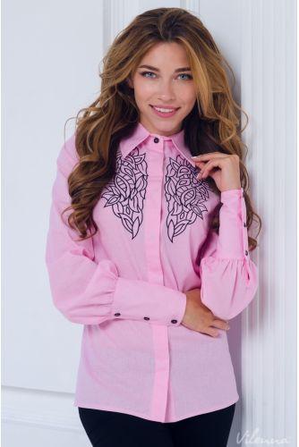 Блузка удобная и стильная с вышивкой и пышными рукавами • цвет: нежно-розовый • интернет магазин • vilenna • фото 1