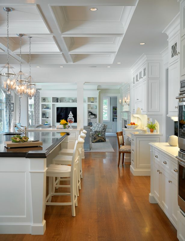 Open Concept Kitchen Living Room Crown Molding Ceiling