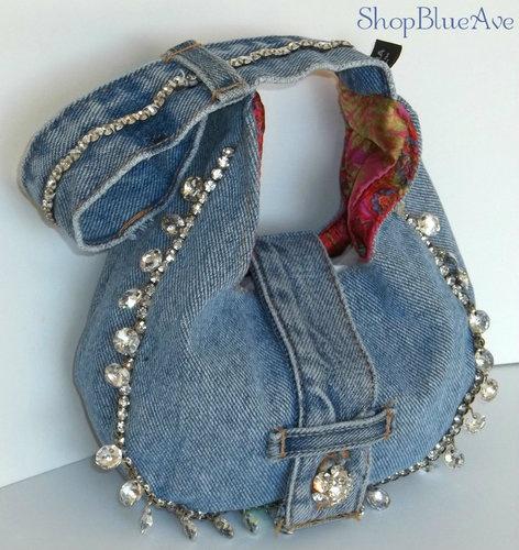 Glam Denim Handbag w/ Rhinestones