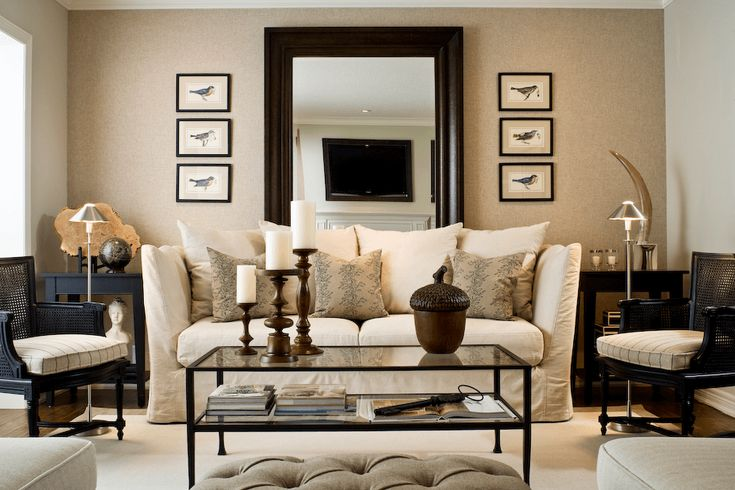 Add mirror to decorate a wall behind a couch