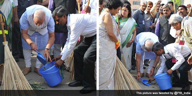 PM Modi launches Swachh Bharat mission.   On Mahatma Gandhi's 145th birth anniversary, Prime Minister Narendra Modi on Thursday kicked off Clean India or Swachh Bharat mission by sweeping a pavement at Valmiki Basti in the capital.