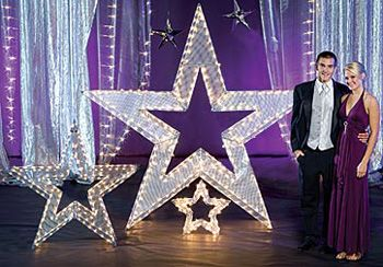 Our Lighted Star Prom Accents are perfect for lighting up your special night. Use the star decorations for photo ops, or accent your dance floor.