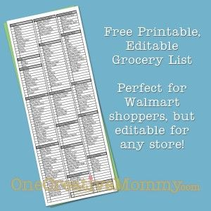 Grocery List Printable - categorized by walmart's aisles - and you can personalize it to what you normally buy - time saver!