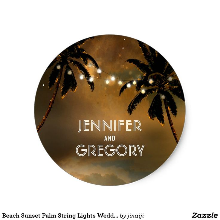 Beach Sunset Palm String Lights Wedding Classic Round Sticker Enchanted sunset beach wedding seals with palms and string lights