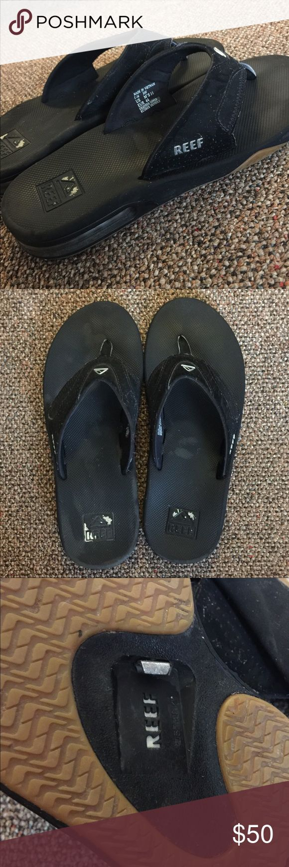 Men's Reef Flip Flops Bought for my husband at the beach. He only wore them the week we were there, they ended up just being too big for him. The silver on the heels has worn off. But everything else about them is perfect. I just wiped them down with a cloth to clean them off. The straps have a velvety feel to them. Reef Shoes Sandals & Flip-Flops