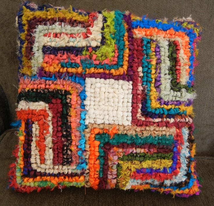 Locker Hooking (Locker Hooked pillow by Charlotte L. Dey)