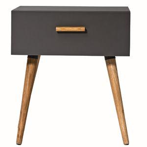 Table de chevet en bois gris fonc 1 tiroir keep - Table de nuit bois fonce ...