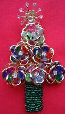 Vintage Rare Signed Anka Bezel Flower Christmas Tree Pin Brooch Hagler Style