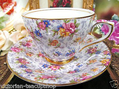 ~ ROYAL-WINTON TEACUP AND SAUCER CHINTZ FLORAL ELEANOR ROSES PATTERN TEACUP ...