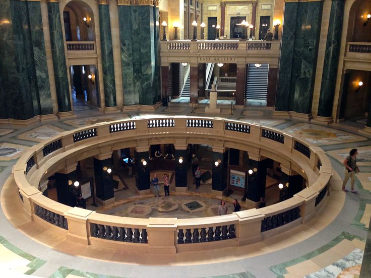 The interior of the Wisconsin Capitol building is extraordinary.  The Capitol houses the Wisconsin Supreme Court, the Senate and Assembly Chambers and the Governor's Office.
