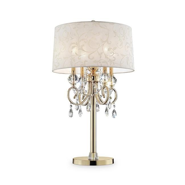 Free 2 Day Shipping Buy 32 5 In Aurora Barocco Shade Crystal Gold Table Lamp At Walmart Com Gold Table Lamp Crystal Table Lamps Chandelier Table Lamp