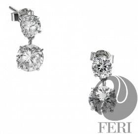 "- Exclusive FERI 950 Siledium silver - Exclusive dual natural rhodium and palladium plating - Set with exclusive FERI Swan cut lab stones - Colour: white - Dimension: 0.52"" length get your popular jewelry"