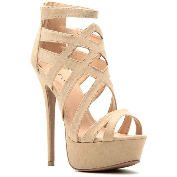 beige multi strap open toe look back zipper platform high heels (12 CAD) ❤ liked on Polyvore featuring shoes, pumps, beige, beige suede shoes, beige platform pumps, high heel shoes, open-toe pumps and open toe shoes