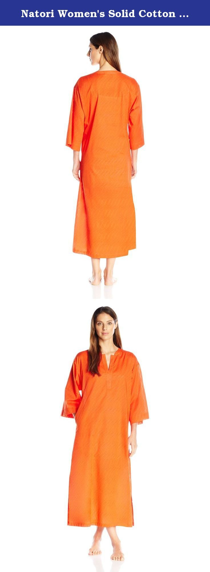 Natori Women's Solid Cotton Texture Lounger, Sedona, X-Large. Solid cotton caftan with textured surface perfect for any lifestyle.