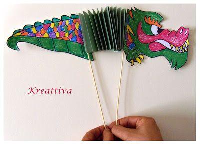 drago cinese di carta per lavoretto creativo con bambini