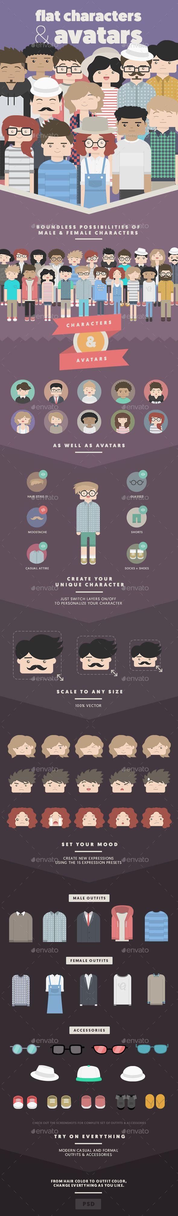 Flat Characters & Avatars - People Illustrations