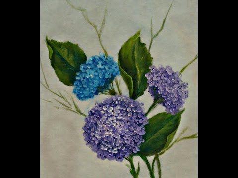 Pintar Hortensias . Painting hydrangeas one stroke - YouTube