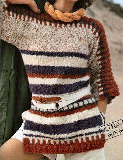 Ce+bon+vieux+pull+tube:+Pull+tunique+femme+tricoté+aux+aiguilles
