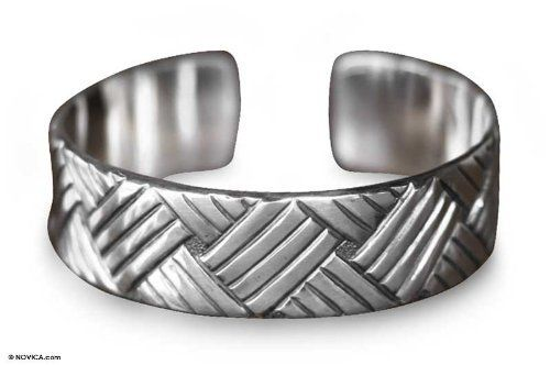 Sterling silver cuff bracelet, 'Bamboo Weave' NOVICA. $179.95. Normally ships directly from Bali & Java within 10 days.. A fair trade product. Handmade by Priyo Salim.