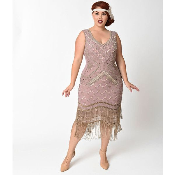 Unique Vintage Plus Size 1920s Lavender & Antique Gold Fringe Hampton... ($298) ❤ liked on Polyvore featuring plus size women's fashion, plus size clothing, plus size dresses, purple, plus size white dress, purple cocktail dresses, plus size white cocktail dress, 20s flapper dress and plus size purple dress