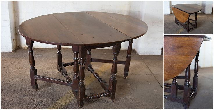 #NorthcliffAntiques Kitchen furniture: An oak gate-leg table with baluster turned legs with a radius of approximately 0.6m. #Johannesburg #Kitchen #Tables #Antiques #Oak #Cottage