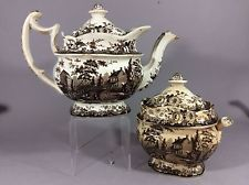 Staffordshire Transferware Teapot The Residence Of The Late Richard Jordan N. J