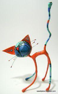 Opa! objetos de papel maché y cartapesta: Gato naranja