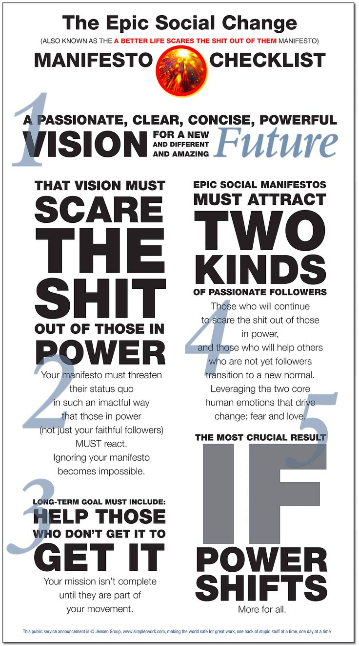 Epic Social Change Manifesto Checklist: Part 1 of 2. There are only two true forms of manifestos. Go make yours!