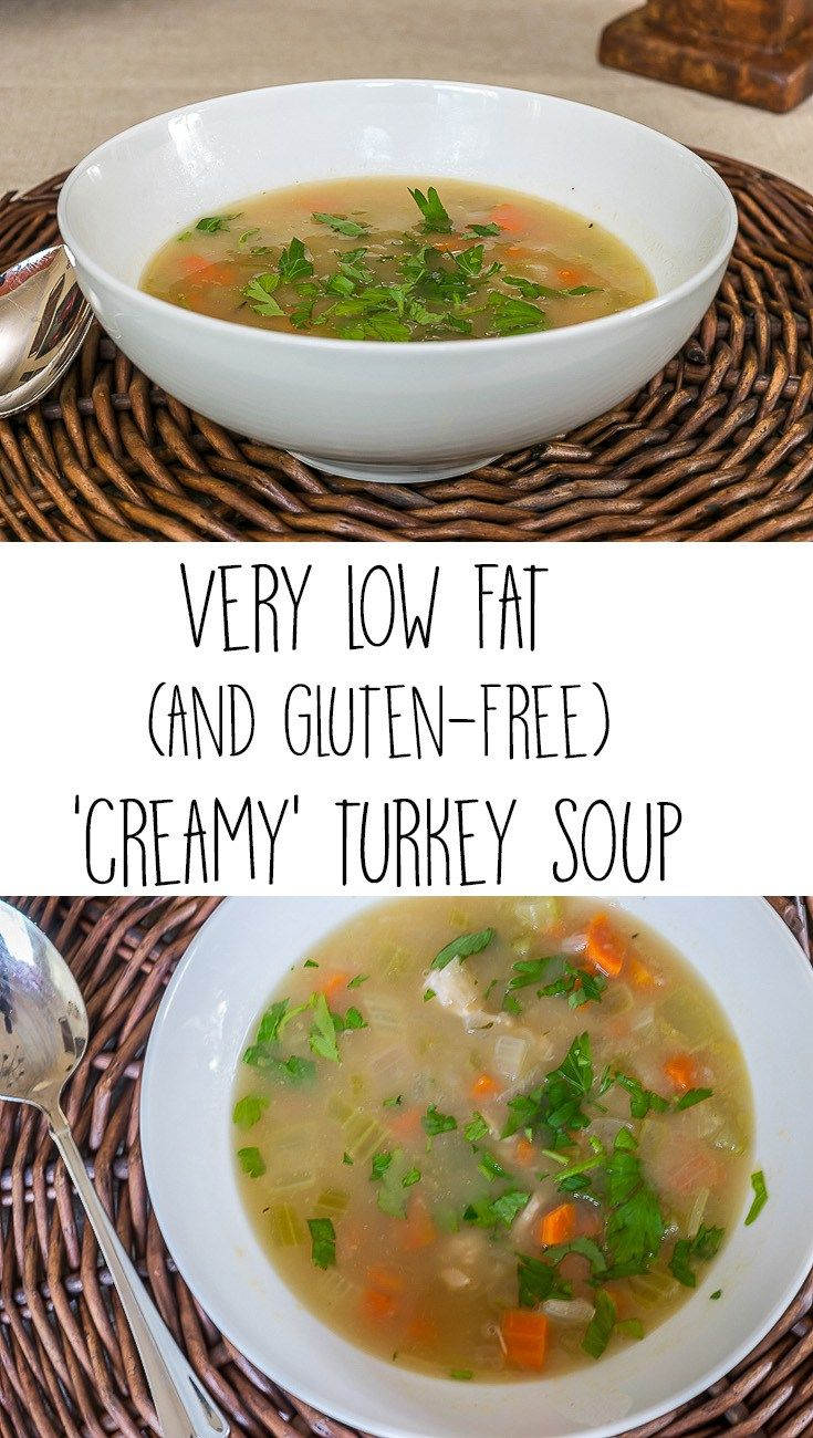 Need a recipe for a low fat, easy dinner? This 'creamy' turkey soup uses a secret ingredient to replace the flour/cream and produces the creamy texture of this delicious soup. Low Fat,Healthy and Gluten Free.